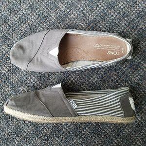 Toms Classic Slip On Shoes Canvas Burlap EUC sz 10